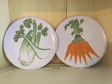 """CELERY & CARROTS Vintage Red Clay Pottery Vegetable 8"""" Salad Plate ~ Italy T479"""