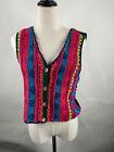Vintage carol little Classic Multi color front knit Vest Size Small Petite