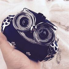 Wedding Bridal Women Crystal Owl Black Evening Clutch Bags Handbag Purse Hard