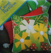 columbia-minerva erica wilson floral pillow crewel point embroidery kit vtg 1971