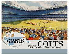 1958 NFL CHAMPIONSHIP GAME (Giants v Colts) Poster of Game Program, 8x10 Photo