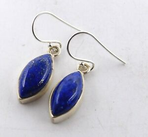 """4.4Gm 925 Solid Sterling Silver Natural Lapis Lazuli Cab Stone Earring 1.1"""" T586"""