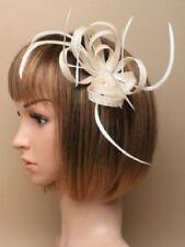 FASCINATOR FEATHER WEDDING OFF WHITE hair hat hatinator beak clip