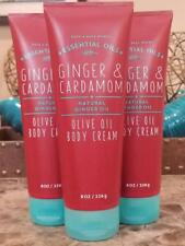 3 BATH AND BODY WORKS natural GINGER CARDAMON Olive Oil Body Cream Lotion 8 oz
