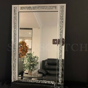 Silver Diamante Wall Mirror Girls Bath Dressing Room Jewel Wall Mirror 60x40cm