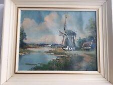 Antique Holland Dutch original oil painting Windmills signed framed