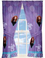 "Disney Brave Merida Window Panels/Curtains/Drapes w/Tiebacks-82x63""-Purple"