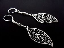 A PAIR OF TIBETAN SILVER  LONG LEAF THEMED LEVERBACK HOOK EARRINGS. NEW.