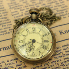 Watch Chain Necklace Pendant Gift~ Antique Vintage Bronze Glass Steampunk Pocket