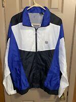 Vintage USA Olympics Black Blue White Men's Large Windbreaker Jacket Full Zip