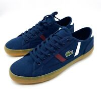 New Lacoste Men's Shoes  Sideline Canvas Gum Outsole Lace Up Sneakers Size 9