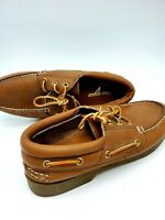 Sperry Top-Sider Men's All Leather 3-Eye Tan Brown Boat Shoe Size 9M NEW no box