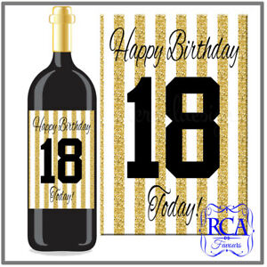 Single Number Birthday Sticker / Bottle Labels to fit wine style (5 designs)