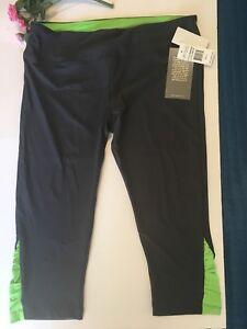 Marika Yoga Pants Women's Size Large Black Weekend Green Ruching