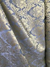 BLUE GOLD Damask Jacquard Brocade Flower Floral Fabric (110 in.) Sold BTY
