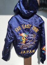 FAR EAST TOUR Japan Vtg Silk ?  Korean War Dragon Embroidery Bomber Jacket S