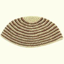 Freak Frik Kippah Yarmulke Yamaka Crochet Cream Beige Thin Stripes Israel 21 cm