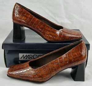 Womens Marco Tozzi Block Heels, Shoes, Brown, Scales, UK Size 5, Euro 38.