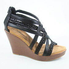 Women's Fashion Comfort Cross Strappy Wedge Platform Open Toe Sandal Size 5.5-11