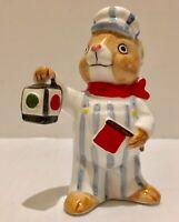 Vintage Quon Quon Bunny Train Engineer Rabbit Figurine Japan Easter Free Ship