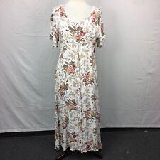 VTG BOHO Prairie Broadway Star Womens Cream Floral Print Dress Grunge 90s