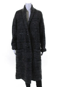 Etoile Isabel Marant Womens Wool Plaid Long Coat Gray Black Size 1