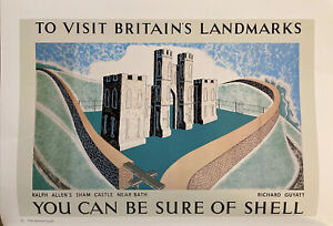 "Shell Oil,Ralph Allen's Sham Castle 1936 Mini Vintage Travel Poster Ad.15x11"" 62"