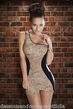 Sexy Kleid Leopard One Shoulder Dress Kostüm Minikleid Partykleid Club Mode  M/L