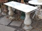 """Antique Console Table  Cast Iron Balusters with White Marble Top 18"""" X 54"""""""