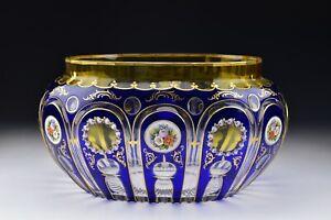 Bohemian Cobalt Cut Overlay Glass  Centerpiece Bowl with Enamel 19th Century