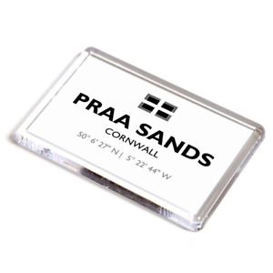 FRIDGE MAGNET - Praa Sands, Cornwall - Lat/Long SW5828