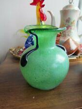 """Vintage  Murano Venetian Italian Art GlassVase 5"""" Green Blue Handled"""