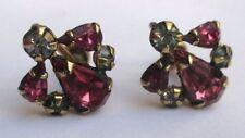 Bijou Vintage anciennes boucles d'oreilles à vis plaqué or cristaux diamant 2908