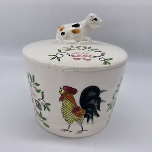 vintage butter dish hand painted rooster and figural cow on lid