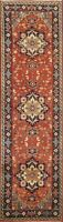"Geometric 8 ft. Rust Indo Heriz Oriental Runner Rug Hand-knotted 7' 10"" x 2' 5"""
