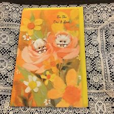 Vintage Greeting Card Mothers Day Retro Orange Flowers Cute Dog Cat