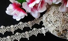 Silver with gold Vintage embroidery lace trim   - price for 1 yard