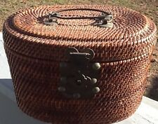 1860 Vintage Chinese Porcelain Travel Picnic Tea Setr Basket