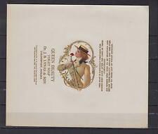 Ancienne étiquette Savon Queen Beauty Femme 1  dimensions 18  cm x 15,5  cm