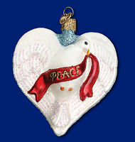 Peace Dove Heart Glass Ornament Old World Christmas New In Box