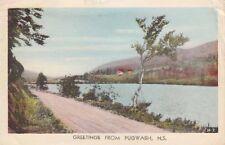 Vintage POSTCARD c1942 River Scene Greetings from PUGWASH, NS 12837