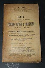 Loi portant Réforme du Régime des Pensions Civiles & Militaires - 14 Avril 1924