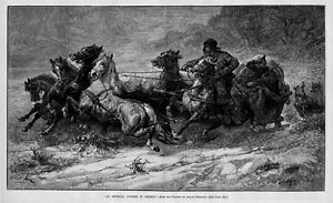 HORSES SIBERIA IMPERIAL COURIER CHASED BY WOLVES SLEIGH VINTAGE
