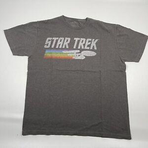 Star Trek Official T-Shirt Classic Enterprise Rainbow Logo Grey Size Large