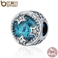 BAMOER 925 Sterling silver Charm Romantic star With Blue CZ Fit Women bracelet