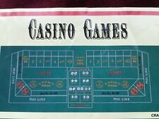 """NEW CASINO STYLE CRAPS * 36"""" x 72"""" GREEN FELT GREAT FOR HOME USE & DICE THROWING"""