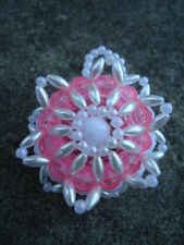 Christmas Homemade Pink, White & Pearl Bead Small Round Ornament Crafts by Mary