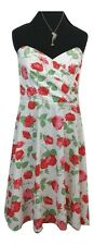 ELISE RYAN Dress Size M Red Green White Floral Summer Wedding 50s Inspired