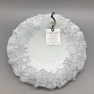 """x6 Akcam Turkish Glass Snowflake Dessert Plate Set Frosted Silver Christmas 8"""""""
