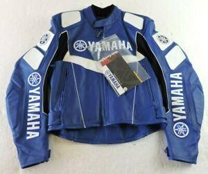 Yamaha Mens Size 42 Gericke Torque Short Blue & White Leather Motorcycle Jacket